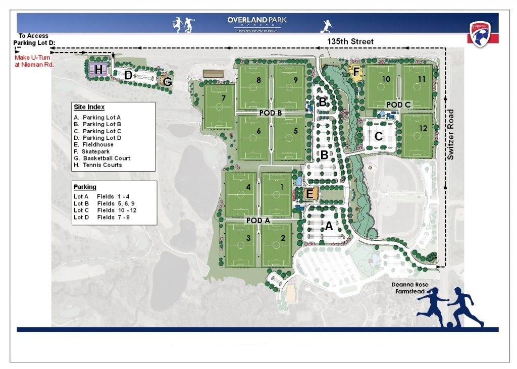 Overland Park Soccer Complex Map Schedules and Fields Overland Park Soccer Complex Map