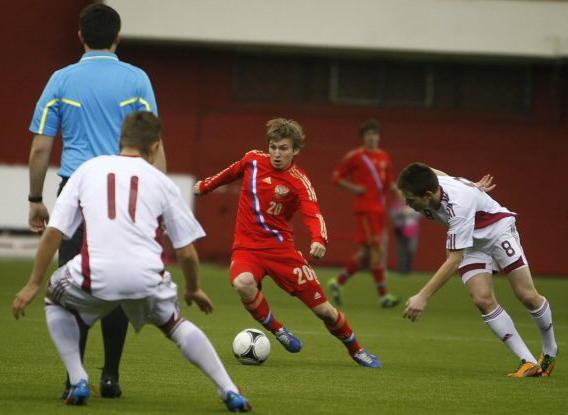 Valeri Saramutin with the Russian youth national team.