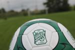 Green white soccer ball