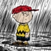 Charlie Brown in the rain