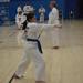 Martial arts karate girl doing a strike