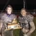 Cherry Hill West running back Tyrone Williams and quarterback Joey Argentina pose with The Boot after defeating Cherry Hill East, 8-0, on Wednesday night.
