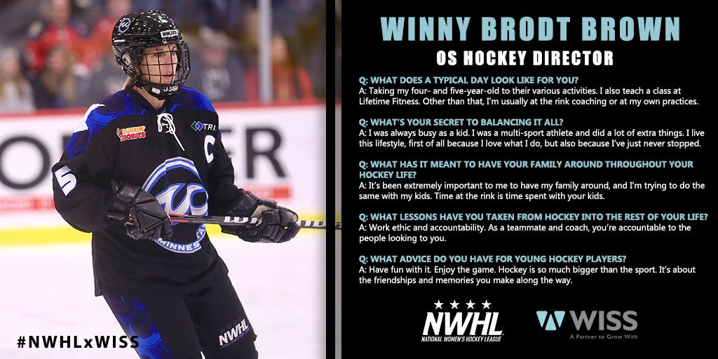 a9796a715bd NWHLxWISS  Whitecaps Defender and Minnesota Hockey Legend Winny Brodt Brown