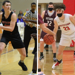 On the left, Tre Digugliemo holds a basketball. On the right, David Leh guards another player