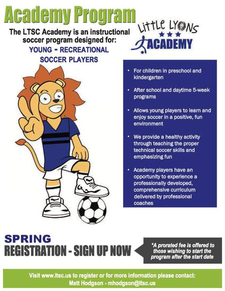 LTSC Soccer programs for Pre K and K players