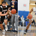 On the left, Dom Vazquez dribbles a basketball. On the right, James Ashford IV dribbles a basketball
