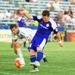 Lewis Hilton strikes the ball in a USL regular season game versus the Wilmington Hammerheads.