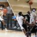 On the left, Kareem Watson holds a basketball. On the right, Kaseem Watson jumps to the basket.