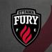 Graphic image of Fury FC logo with a flame in the back