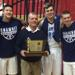 The starting five with coach Joe Kessler and the coveted trophy