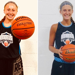On the right, Tori Nigro holds a basketball in one hand. On the left, Sammi White holds a basketball in two hands