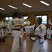 An adult taekwondo martial arts woman breaking a board