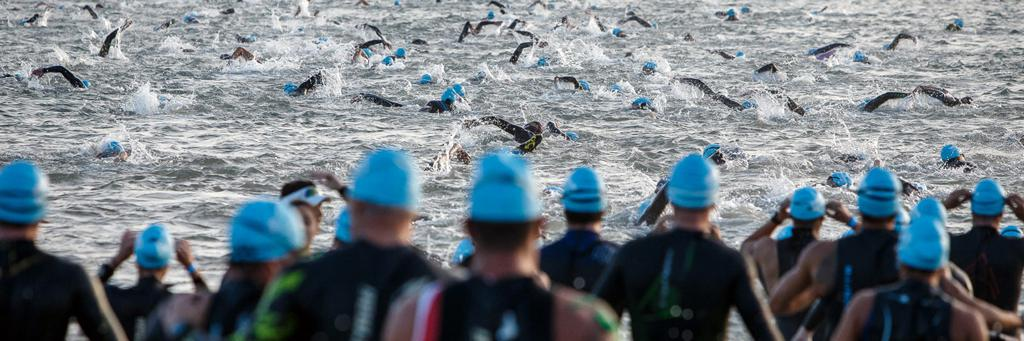 Swimmers participating in IRONMAN Brazil