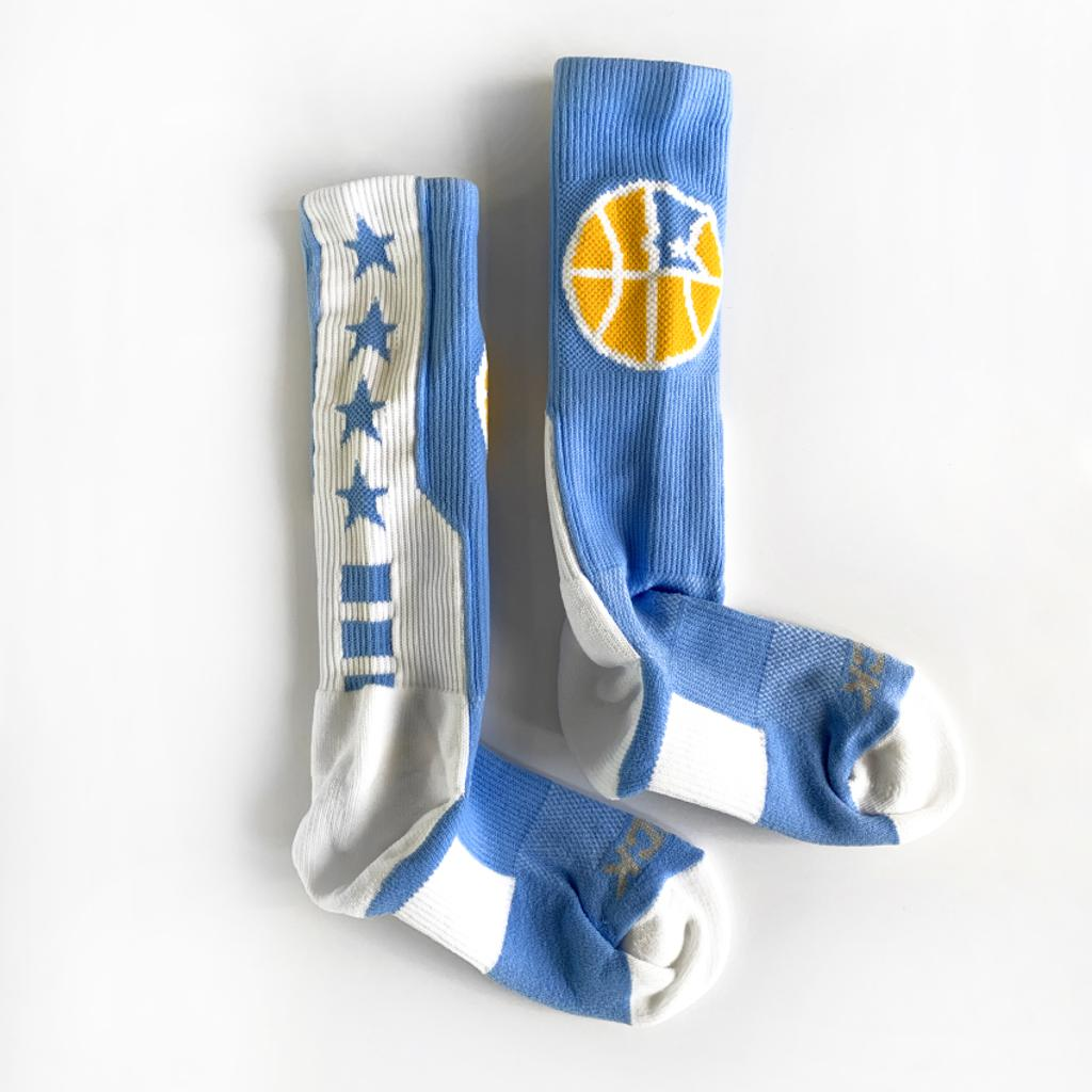 Official Mpls Lakers Youth Traveling Basketball Program Inc apparel and gear in Minneapolis, MN: Blue and White Mpls Lakers athletic socks with in-knit logo