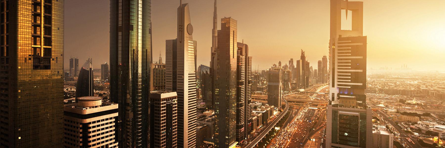 Close-up of Dubai's skyline including Burj Khalifa at the Golden Hour