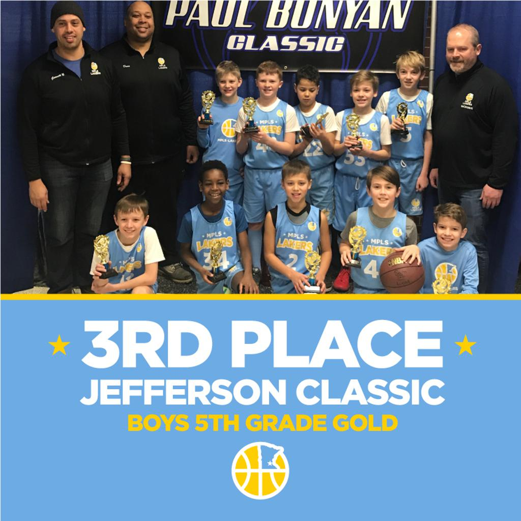 Minneapolis Lakers 5th Grade Gold pose with their hardware after taking 3rd Place at Brainerd Paul Bunyan Classic in Brainerd, MN