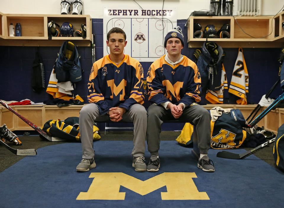 Zephyrs seniors Tommy Broten and Nikolai Dulak heard all about Mahtomedi hockey history this season. The 65th anniversary jerseys harken to the program's first sweaters. Photo by Cheryl Myers, SportsEngine