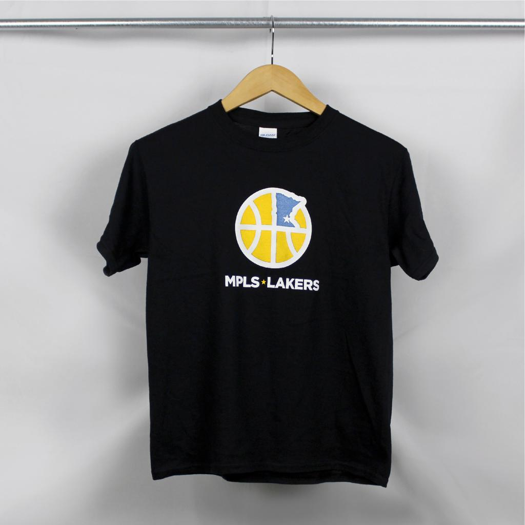 Black T-Shirt with Mpls Lakers Logo and Text
