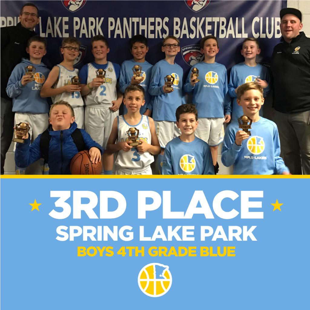 Boys 4th Grade Blue pose with their hardware after taking 3rd Place at Spring Lake Park Panther Classic