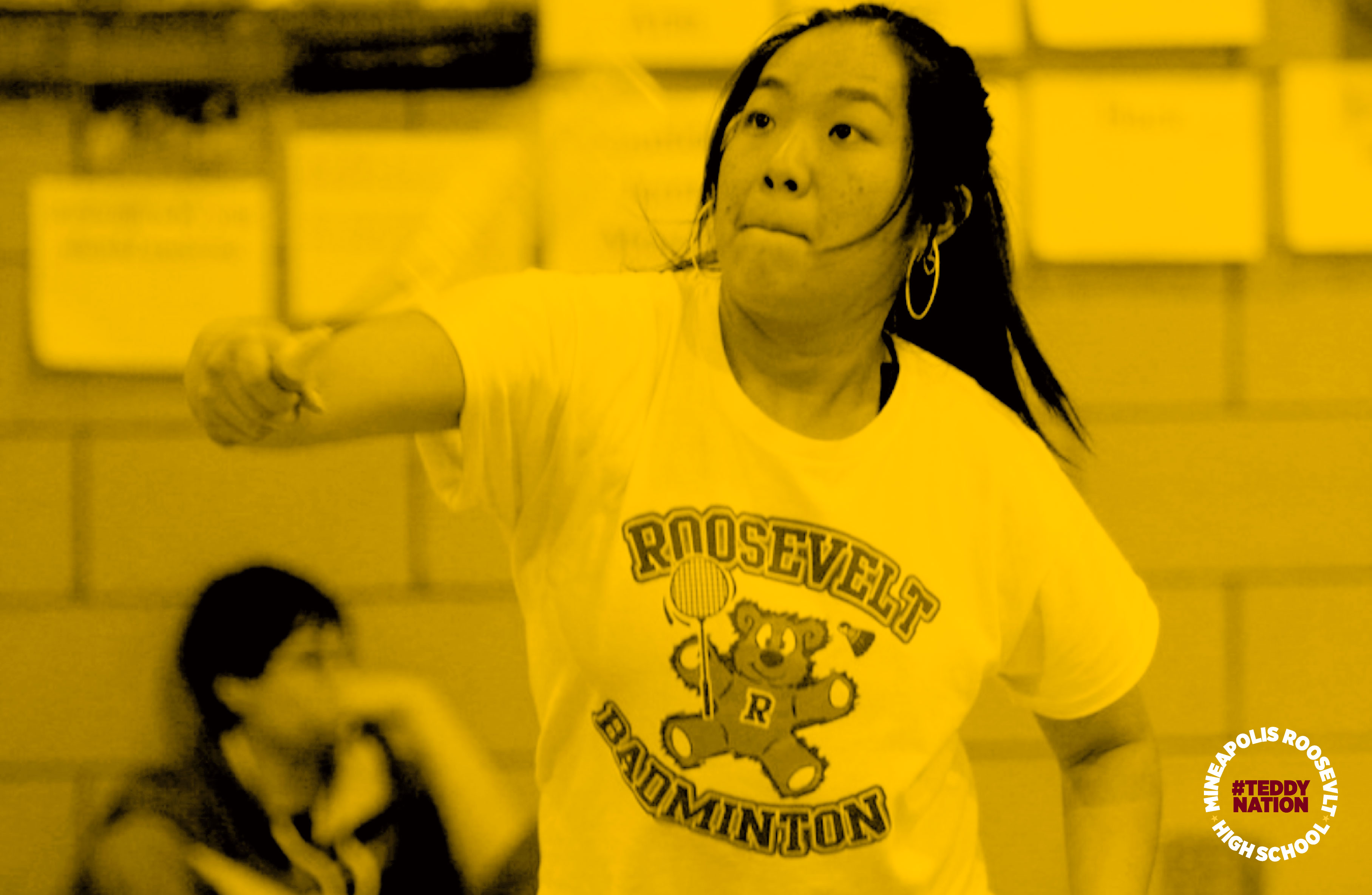 """Minneapolis Roosevelt High School in South Minneapolis. Named after Theodore """"Teddy"""" Roosevelt. Badminton matches played at Jack Wells Gymnasium. The image displays a Roosevelt player hitting the Badminton shuttlecock during a match.  #TeddyNation #TheVel"""