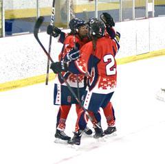 U16 celebrating goal at prospects showcase