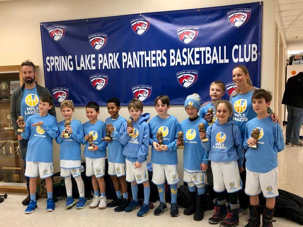 Boys 4th Grade Gold pose with their hardware after taking 1st at Spring Lake Park Panther Classic
