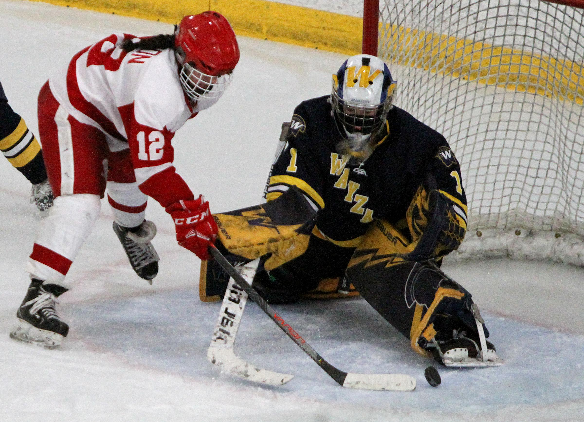 Wayzata junior goaltender Annika Lavender turns aside a high-scoring chance from Red Knights senior forward Lucy Hanson during the third period. Lavender stopped 44 shots in the Trojans' 4-2 playoff loss. Photo by Drew Herron, SportsEngine