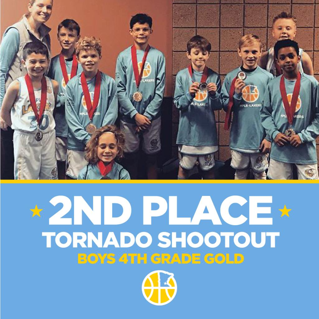 Minneapolis Lakers Boys 4th Grade Gold pose with their second place medals at the Anoka Ramsey Tornado Shootout in Anoka, MN