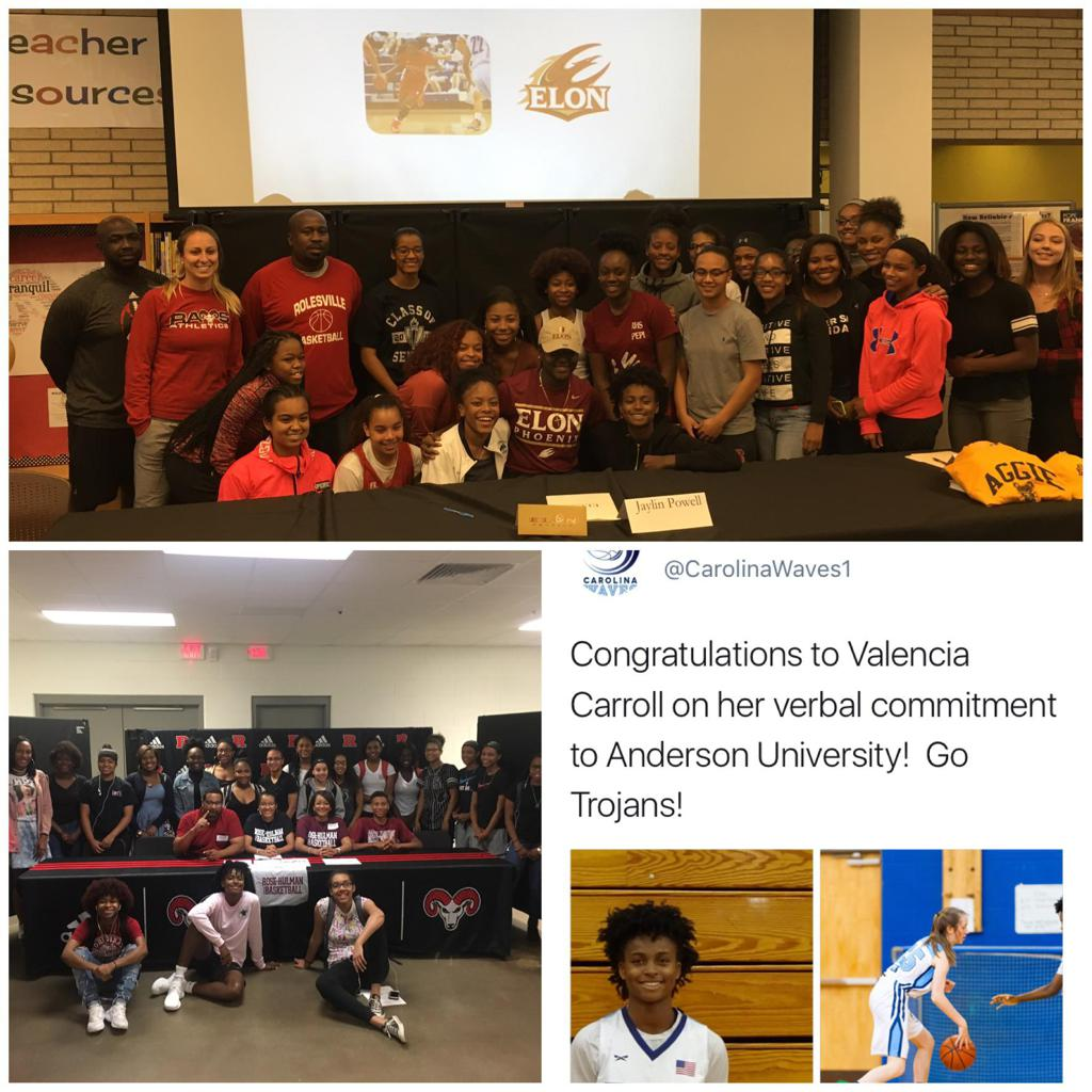017 Signee's--Jaylin Powell (Elon University), Morgan Brown (Rose-Hulman University), 2018 committment to Anderson University by Valencia Carroll