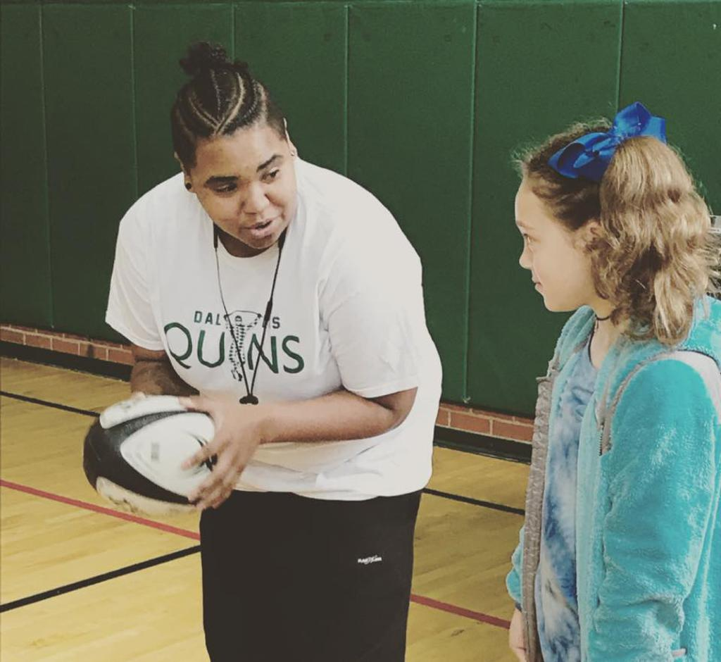 Lady Quins Players Show Alex Sanger Elementary Some Rugby