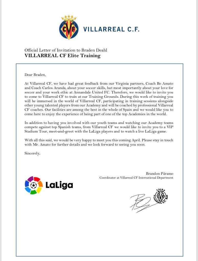 Invitation from Villarreal CF