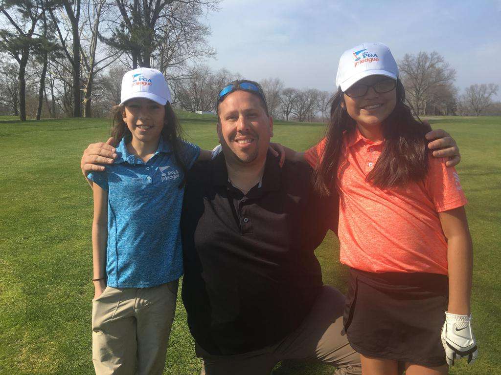Anthony Rodriguez, PGA, also known as Coach Arod, with PGA Jr. League golfers Madison and Dhanna