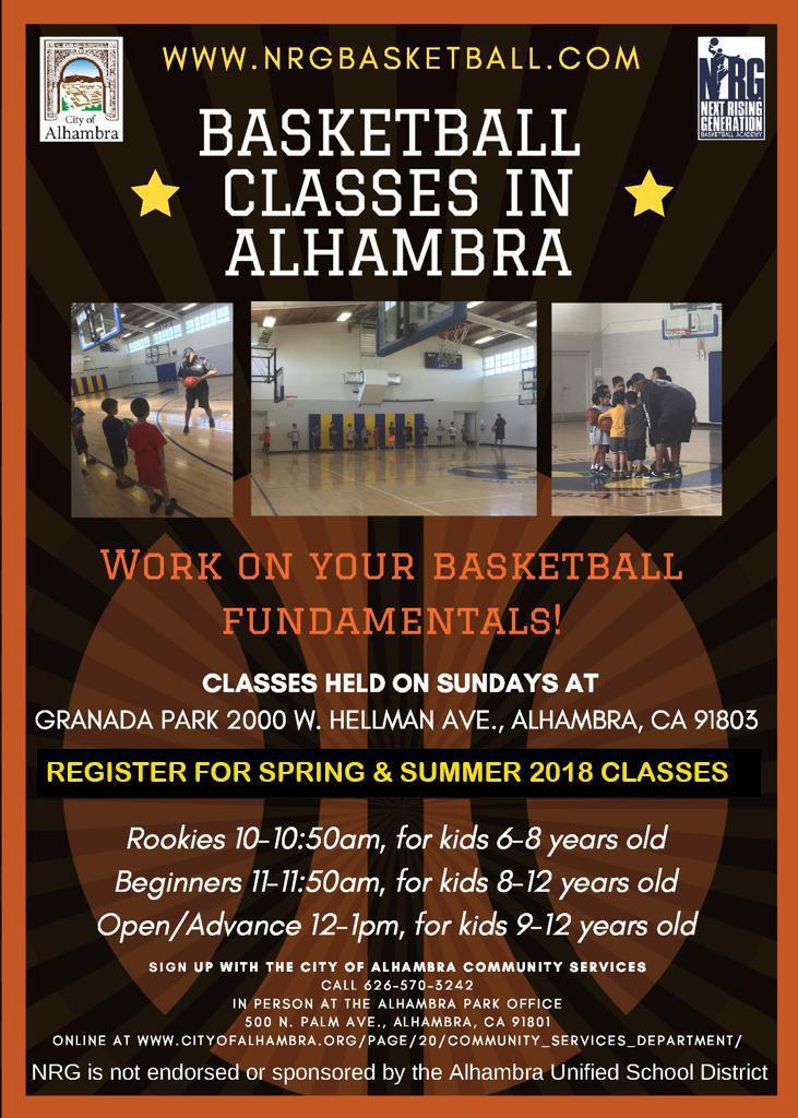 Flier for NRG Basketball Classes in Alhambra