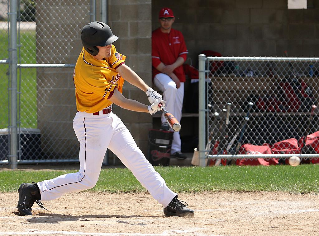 Derek Albers connects with the ball in the bottom of the first inning to send in Northfield's only run of the game. Albers pitched a no-hitter through six innings on Saturday afternoon. Photo by Cheryl Myers, SportsEngine