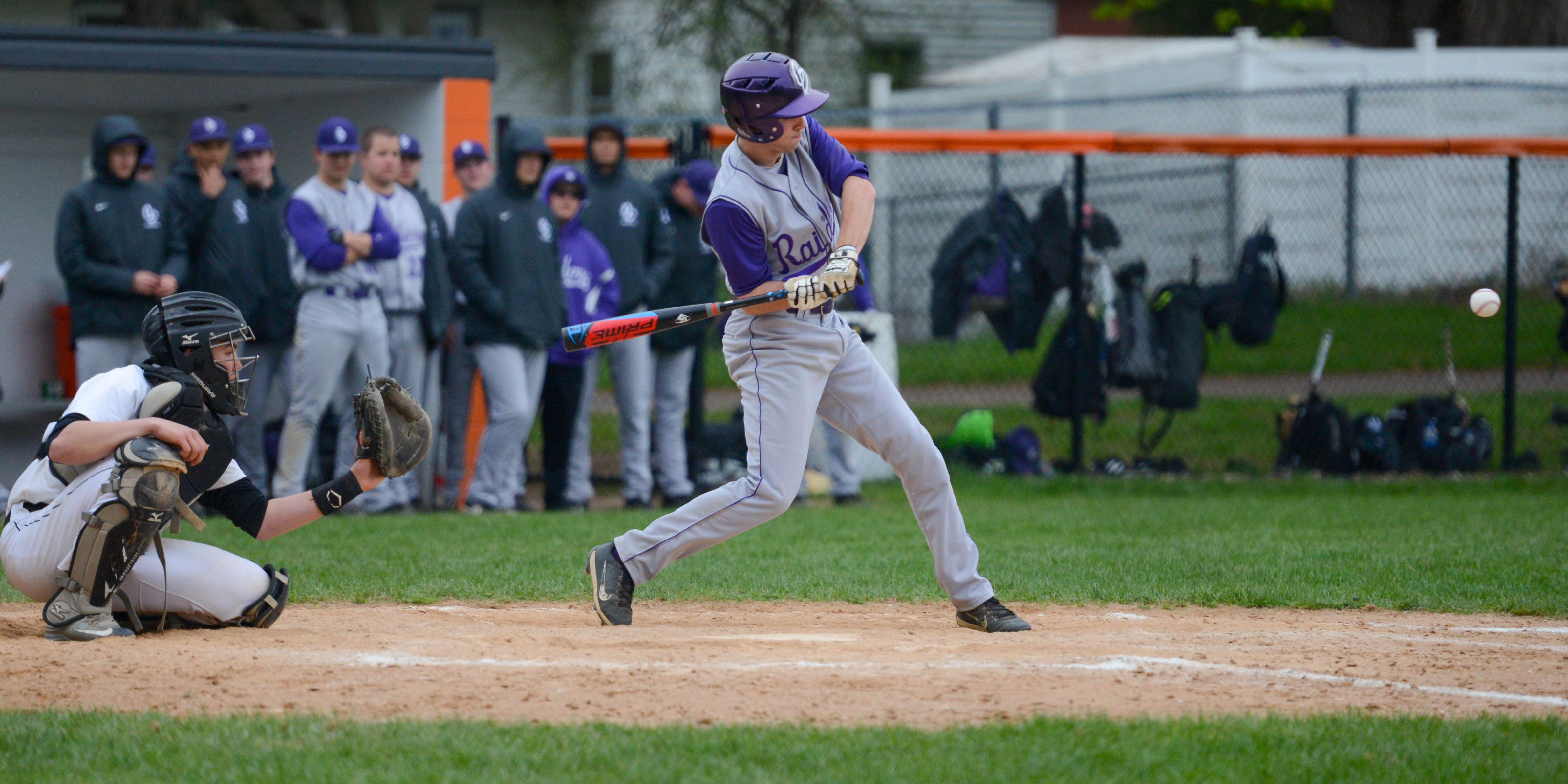 Cretin-Derham Hall shortstop Michael Caron (6) swings at a pitch against White Bear Lake. Caron had 2 RBI in the Raiders' 12-1 win over the Bears. Photo by Carter Jones, SportsEngine