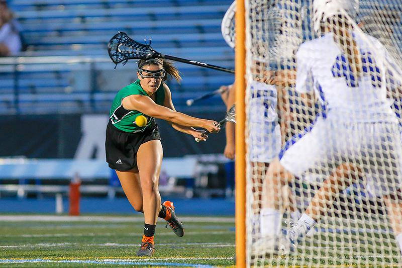 Edina freshman Haley Reeck scored one of her two goals late in the second half of the Hornets' 11-9 victory at Minnetonka. Photo by Mark Hvidsten, SportsEngine