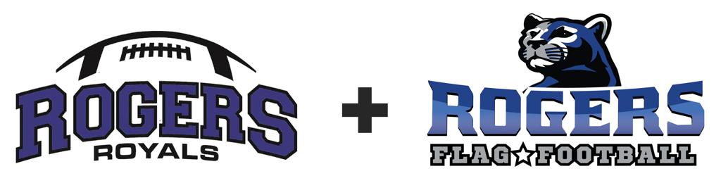 Rogers Youth Football plus Flag logo horizontal