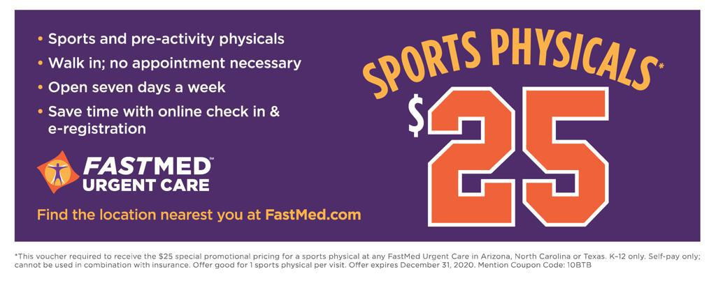 Sports Physical for 20-20 Season - Only $25 at UrgentMed