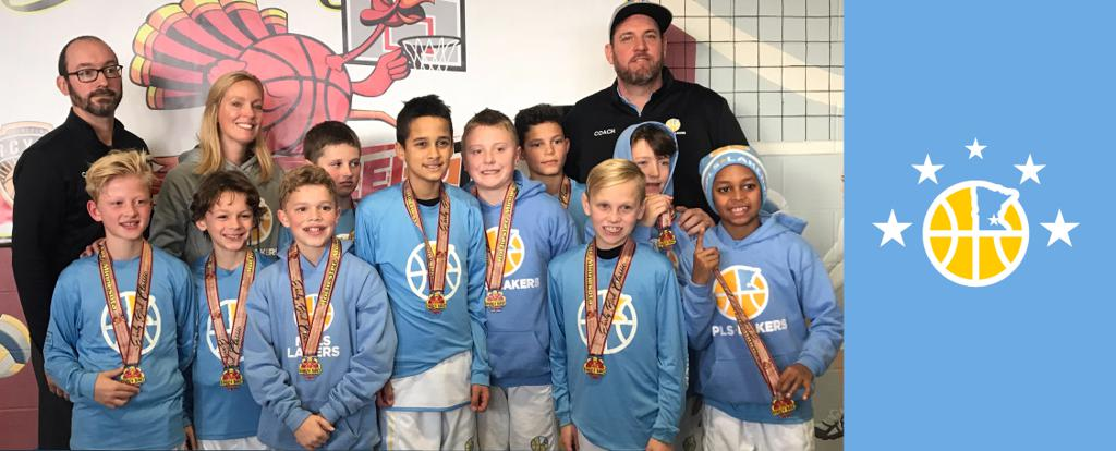 Minneapolis Lakers Boys 5th Grade Gold pose with their Medals after earning 2nd place at the Rochester Early Bird tournament in Rochester, MN