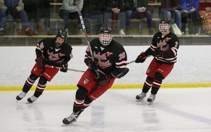 Duluth East is no stranger to traveling south on I-35 to the Twin Cities. The Greyhounds will face another tough road test against Lakeville North, which has won tight games recently. Photo by Jeff Lawler, SportsEngine