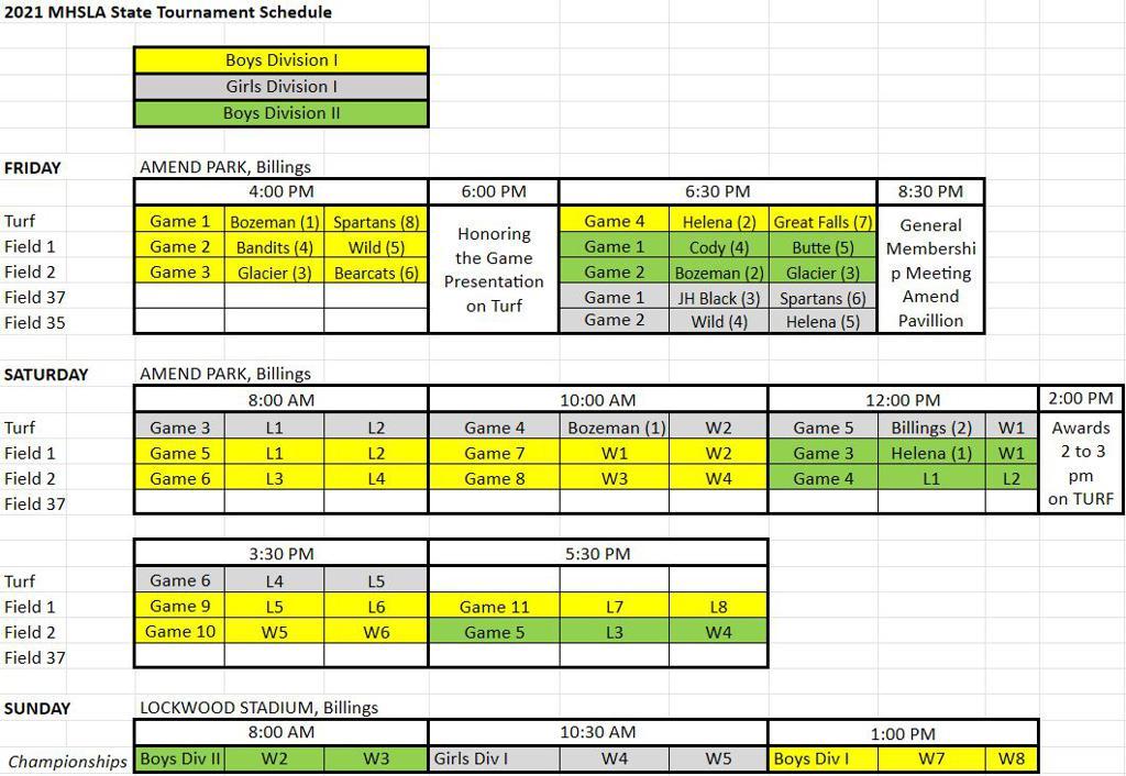 2021 Tournament Schedule