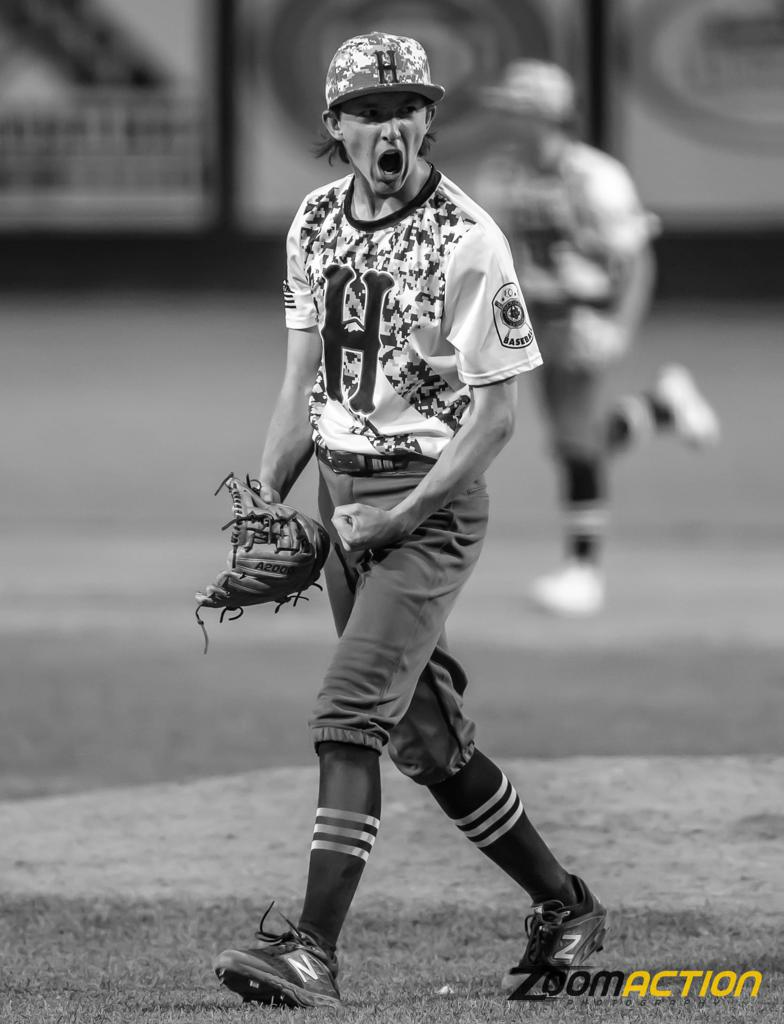 Mike Hurlbert celebrates after striking out a Yakima Beetle to end the inning. Photo by Jason Brent