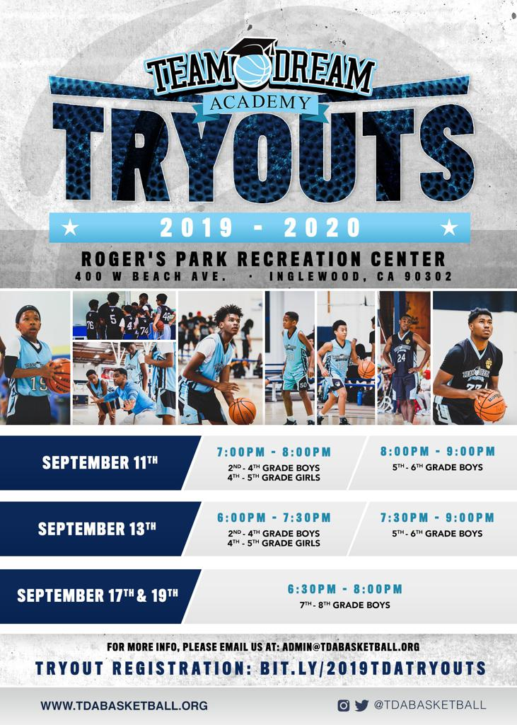 Team Dream Academy 2019-20 Tryouts! Sign up for tryouts now!
