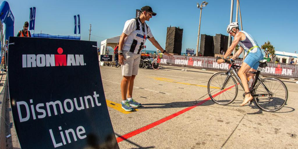 Triathlete near dismount line, transitioning