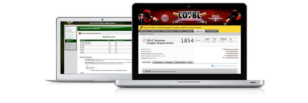 Football, soccer, baseball, softball, lacrosse, and hockey online registration software.