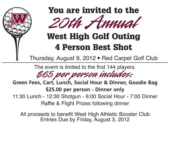 20th annual west high golf outing info 2012 west high golf outing invitation pdf stopboris Images