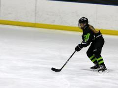 Haley knauf heading down ice and scores small