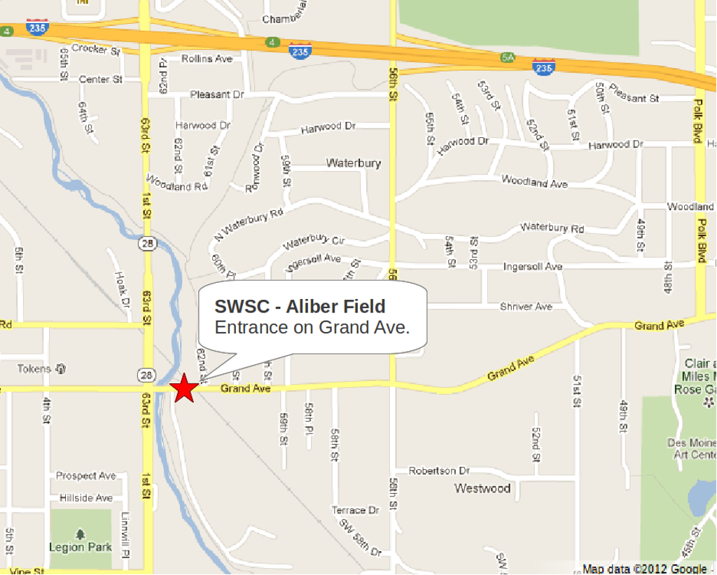Directions and Map to Aliber Field
