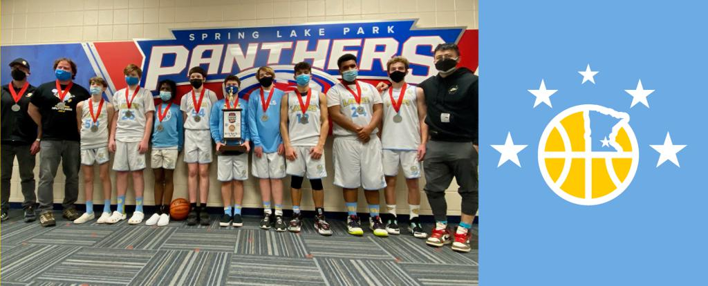 Mpls Lakers Youth Traveling Basketball Program Inc Boys 8th Grade White pose after placing 2nd at MYAS Grade State year end tournament!