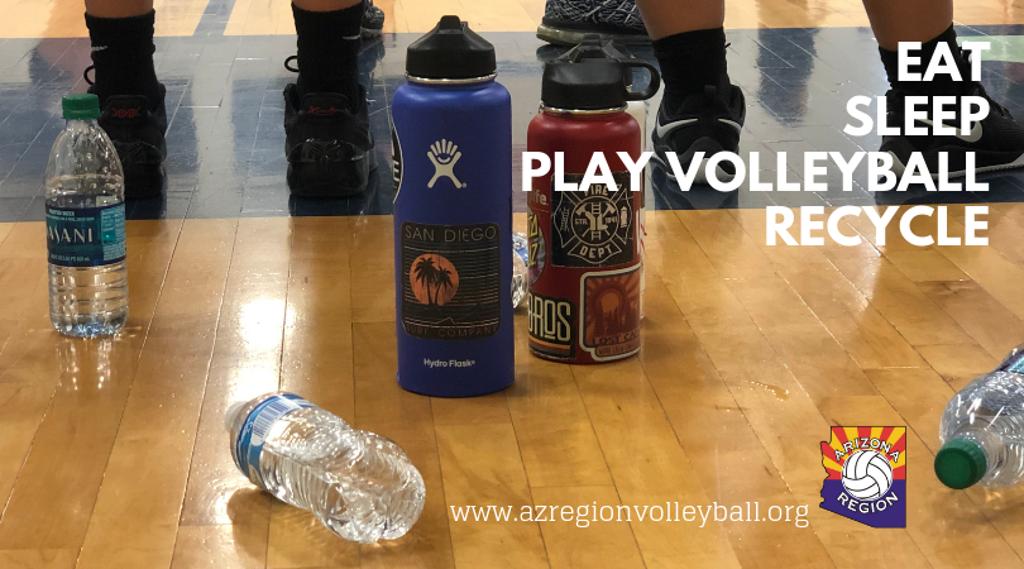 Water bottles on floor behind athletes' feet
